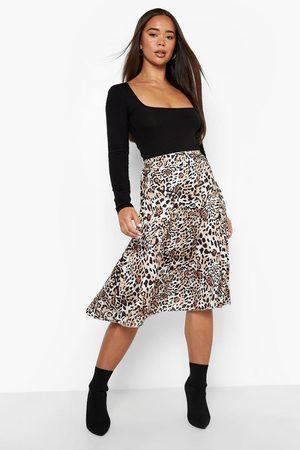 Boohoo Women Printed Skirts - Womens Leopard Print Satin Slip Midi Skrt - - 4