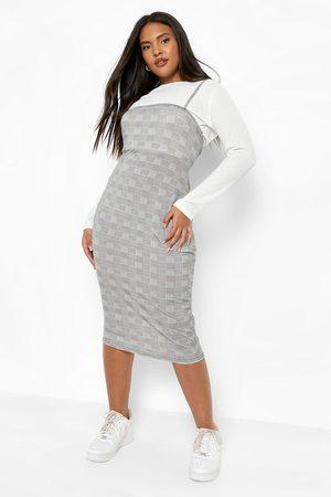 Boohoo Womens Plus Flannel 2 In 1 Rib Top Dress - - 12