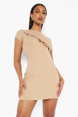 Boohoo Women Party Dresses - Womens Premium Rib Lace Up Contrast Seam Mini Dress - - 4