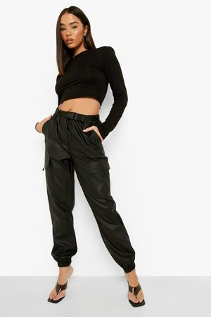Boohoo Womens Cargo Belted Pu Jogger Trouser - - 2