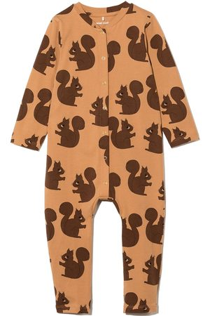 Mini Rodini Baby Rompers - Long-sleeved squirrel print romper
