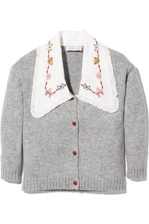 MONNALISA Girls Cardigans - Contrast collar maxi cardigan - Grey