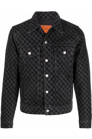 Sandro Men Denim Jackets - Check-pattern denim jacket