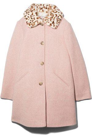 BONPOINT Girls Coats - Leopard print collar buttoned coat
