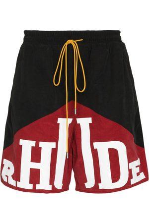 Rhude Men Sports Shorts - YACHTING TRK SHRTS BLK RED