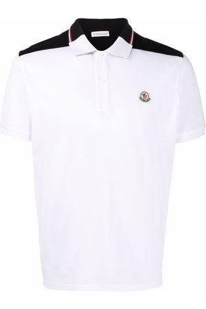Moncler Men Polo Shirts - Two-tone cotton polo shirt