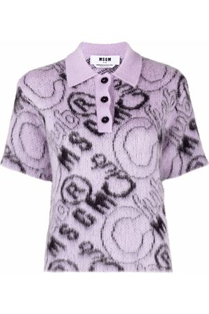 Msgm Women Polo Shirts - Logo print purl knit polo shirt