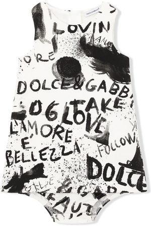 Dolce & Gabbana Baby Printed Dresses - Sleeveless graffiti-print dress