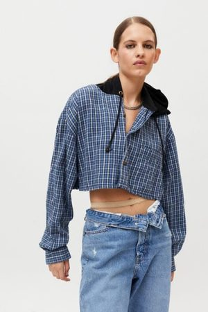Urban Women Shirts - Recycled Hooded Crop Flannel Shirt