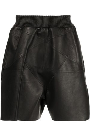 Rick Owens Men Shorts - Calf leather structured shorts