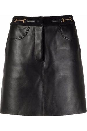 Maje Women Leather Skirts - Horsebit-detail leather skirt
