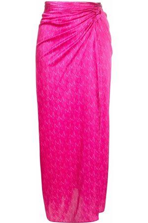 MAGDA BUTRYM Women Printed Skirts - Monogram-print silk skirt