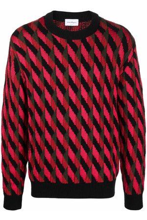 Salvatore Ferragamo Men Sweatshirts - Geometric-knit jumper