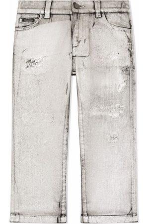 Dolce & Gabbana Boys Straight - Distressed straight leg jeans - Grey