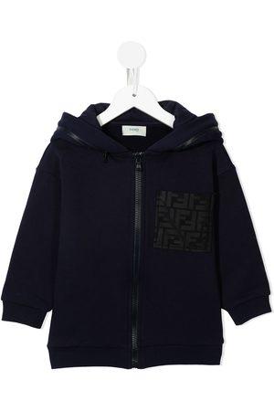 Fendi Boys Hoodies - Logo-pocket zip-front hoodie