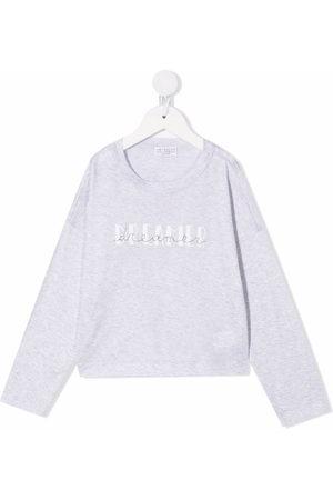 Brunello Cucinelli Girls Hoodies - Dreamer print cotton sweatshirt - Grey