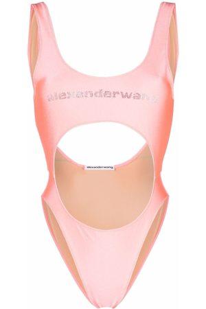Alexander Wang Women Monokinis - Logo-embellished cut-out swimsuit