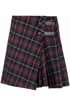 Maje Women Printed Skirts - Check-print buckled skirt