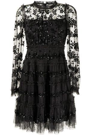 Needle & Thread Lace-panel long-sleeve dress