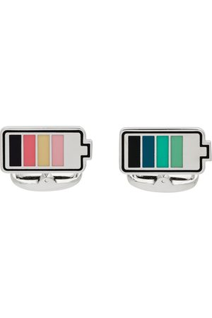 Paul Smith Men Cufflinks - Silver & Multicolor Battery Cufflinks