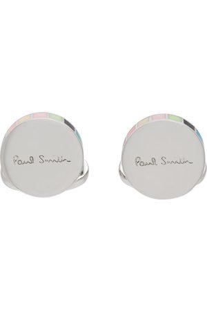 Paul Smith Men Cufflinks - Silver & Multicolor Logo Cufflinks