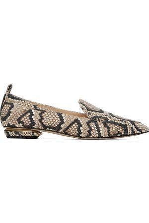 Nicholas Kirkwood Women Loafers - Black & Beige Snake Beya Loafers
