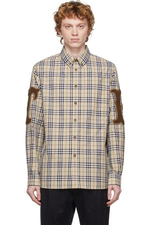 Burberry Men Shirts - Beige Poplin Check Letter Graphic Shirt