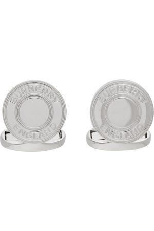 Burberry Men Cufflinks - Silver Logo Detail Cufflinks