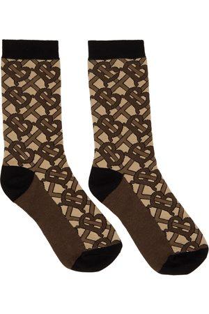 Burberry Men Socks - Brown TB Monogram Socks