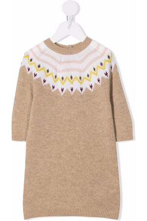 Moncler Baby Knitted Dresses - Patterned-knit dress - Neutrals
