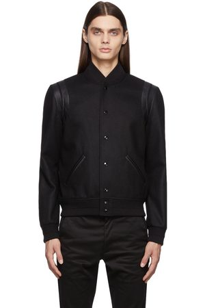 Saint Laurent Men Fleece Jackets - Black Wool Teddy Bomber Jacket