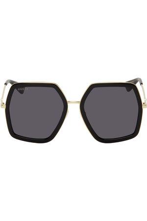 Gucci Women Sunglasses - Gold & Black Oversized Angular Sunglasses