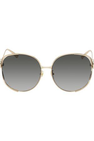 Gucci Women Round - Gold Enamel Stripe Round Sunglasses