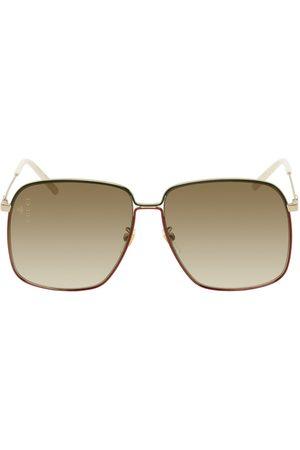 Gucci Women Square - Gold & Multicolor Oversized Square Sunglasses