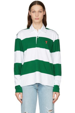 Ami Green & White Striped Ami de Cœur Long Sleeve Polo