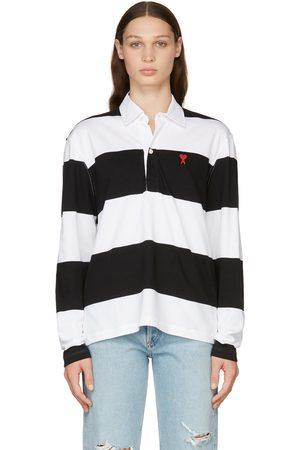 Ami Women Polo Shirts - Black & White Striped Ami de Cœur Long Sleeve Polo