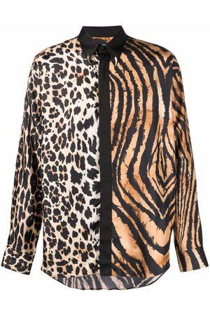 Roberto Cavalli Men Shirts - Animal-print silk shirt