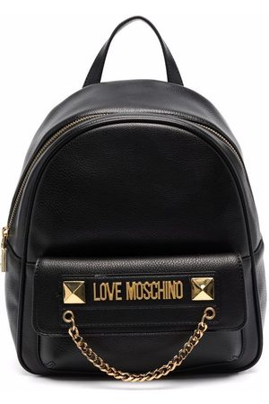 Love Moschino Women Rucksacks - Logo-plaque faux leather backpack