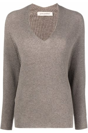 GENTRYPORTOFINO V-neck cashmere jumper - Neutrals