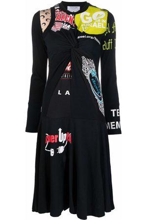 Marine Serre Women Printed Dresses - Printed patchwork midi dress