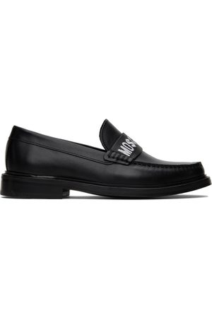 Moschino Black Embroidered Loafers