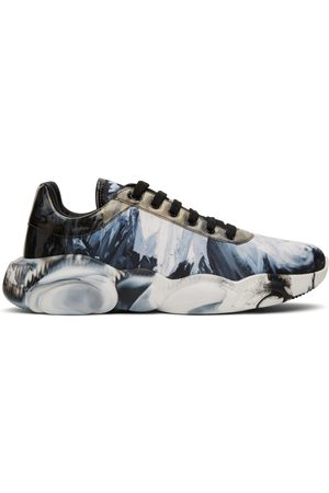 Moschino Blue & White Graphic Print Teddy Sneakers