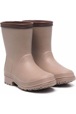 Brunello Cucinelli Girls Rain Boots - Contrast-trimmed embellished wellies - Neutrals