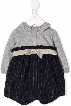 Il gufo Baby Rompers - Pinstripe cotton-jersey romper - Grey