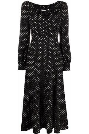 Alessandra Rich Polka-dot ruffle-trim midi dress