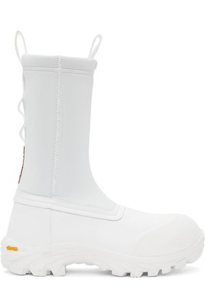Heron Preston Men Boots - White Leather Security Sock Boots