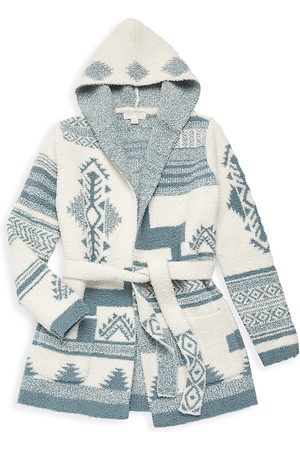 Barefoot Dreams Cardigans - Little Girl's & Girl's Patchwork Hooded Cardigan