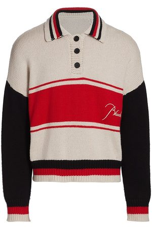 R H U D E Men Polo Shirts - Striped Knit Rugby Polo Sweater