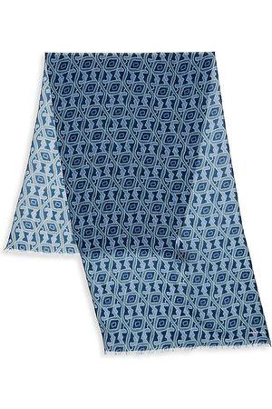 Kiton Wool & Cashmere Geo Print Scarf