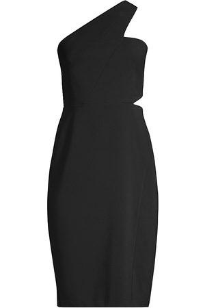 Aidan Mattox One-Shoulder Cutout Crepe Dress